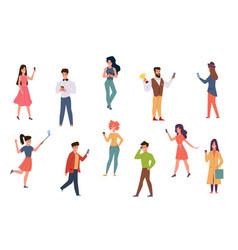 people with smartphones men and women talking vector image