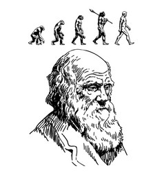 portrait of charles darwin vector image