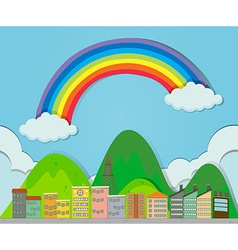 Rainbow over the city vector