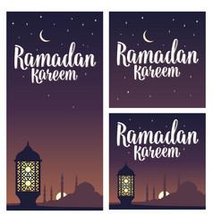 ramadan kareem lettering with lamp minarets vector image