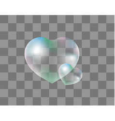 realistic soap bubbles heart-shaped realistic 3d vector image