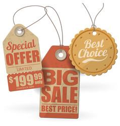 retro style cardboard sale tags vector image