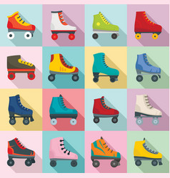 Roller skates icons set flat style vector