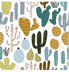 seamless pattern with colorful cactuses and hand vector image