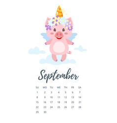 September 2019 year calendar page vector