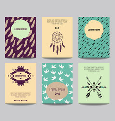 set modern posters with tribal elements ethnic vector image