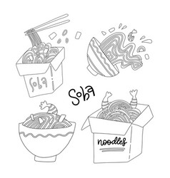 set soba noodle in bowl and boxes flat line vector image