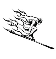 Silhouette a skier jumping vector