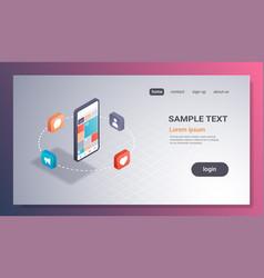 smartphone screen social media management vector image