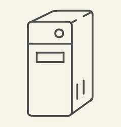 System unit of a computer thin line icon pc block vector