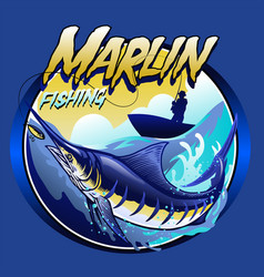 T-shirt design marlin at sea vector
