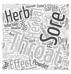 The Best Herbal Remedies For Sore Throat and vector image