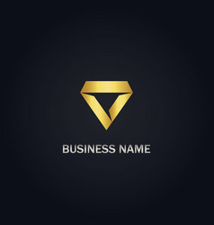 Triangle diamond shape gold logo vector