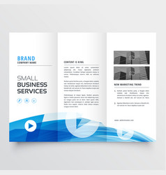 Trifold design with abstract blue wave vector
