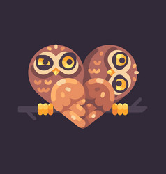 two funny owls on a branch in the shape of a vector image