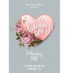 Valentines Day Party Flyer vector image