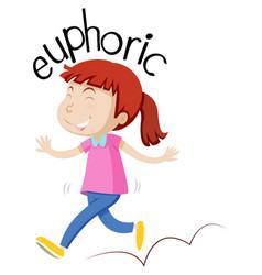 Vocabulary english girl euphoric vector