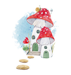 Watercolor mushroom house vector