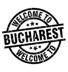 Welcome to bucharest black stamp vector