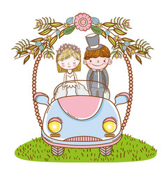 Woman and man wedding in the car with flowers vector