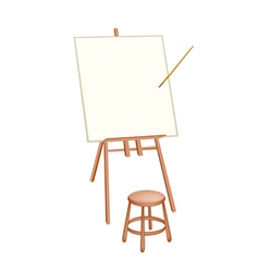 Wooden Artist Easel on White Background vector image