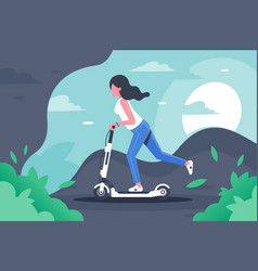 young woman with long hair on electronic scooter vector image