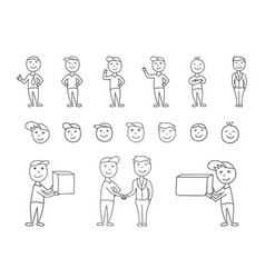 big set of hand-drawn people characters vector image