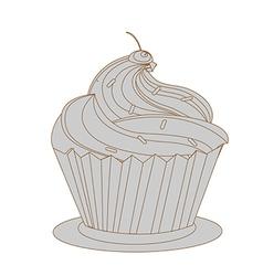 cream cake with pink cherry vector image