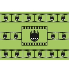 Cute monsters and film strip seamless pattern vector image