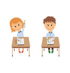 flat girl boy sitting at desk raising hand vector image