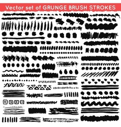 Set of grunge and ornamental different brush vector image