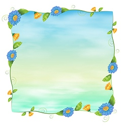 A blue empty template with flowers vector image