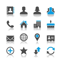 Contact icons reflection vector image