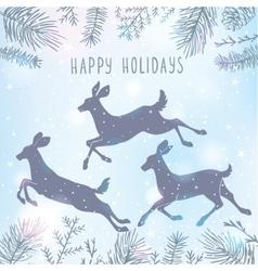 Deer and christmas tree vector