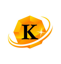 diamond swoosh initial k vector image vector image