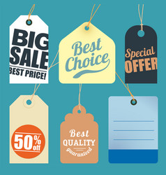 flat design sale tags vector image vector image