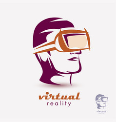 mans head in vr glasses icon stylized logo vector image vector image