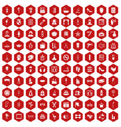 100 beauty and makeup icons hexagon red vector image