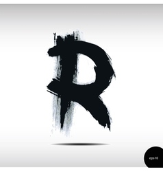 Calligraphic watercolor letter R vector image vector image