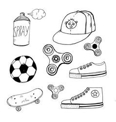 doodle spinner cap aerosol paint ball sneakers vector image