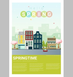 Hello spring cityscape background 5 vector image vector image