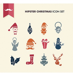 Hipster Merry Christmas icons set EPS10 file vector image vector image