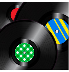 vinyl records square background vector image vector image
