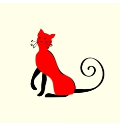 Elegant red cat ornament vector image vector image
