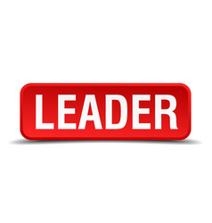 Leader red 3d square button isolated on white vector