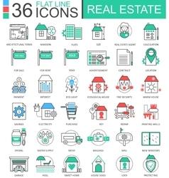 Real estates modern color flat line outline vector image vector image