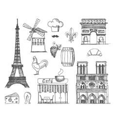 The sketch about France and Paris vector image vector image