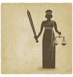 Themis with sword and scales old background vector image