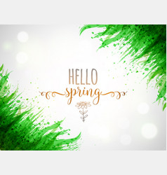 typography composition with hello spring words and vector image