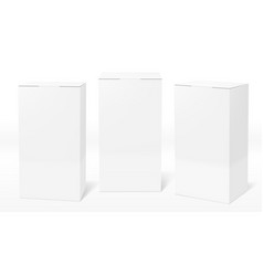 3d clear white blank cardboard package boxes set vector image